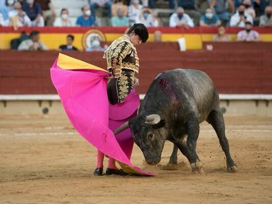 Daniel Luque lidiando una corrida de Adolfo Martín
