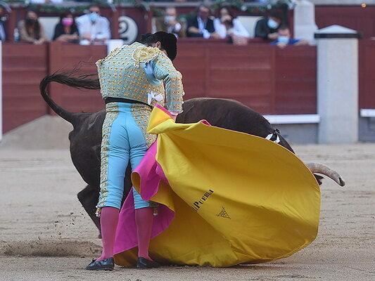 Morante toreando con el capote en Las Ventas